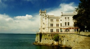 Trieste with Miramare castle (Italy)
